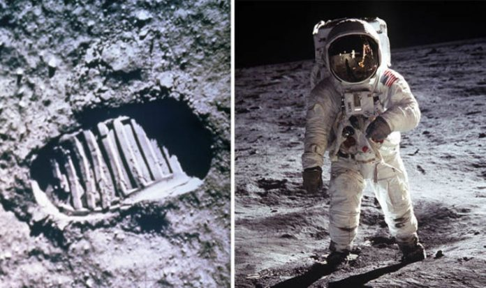 Stepping on the moon